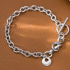 NEW 925 SILVER PLATED LUCKY TOGGLE BRACELET